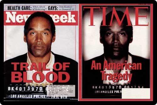 The very controversial manipulated photo of OJ Simpson. From arogundade.com.
