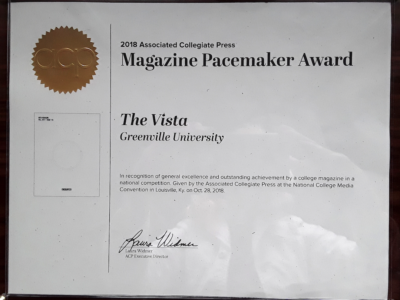 the VISTA wins a 2018 Pacemaker! #acpress